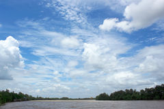 Blue sky with clouds and river Royalty Free Stock Photography