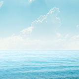 Blue sky with clouds and sea Royalty Free Stock Images