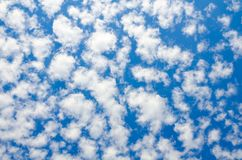 A blue sky with clouds of shallow, abrupt texture. A blue sky with clouds of shallow abrupt texture as a background stock images