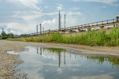 Old ecologically polluting plant industry royalty free stock images