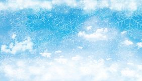 Blue sky with clouds and snow Royalty Free Stock Images