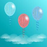 Blue sky, clouds and striped balloons. Vector illustration EPS10 Royalty Free Stock Photos