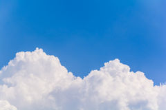Blue sky and clouds in the summer. (Horizontal stock photography