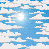 Blue sky with clouds and sun Royalty Free Stock Photography