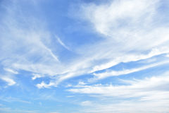 Blue sky. With clouds and sun Stock Photo