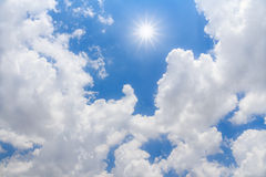 Blue sky with clouds and sun. Beautiful blue sky with clouds and sun Stock Photography