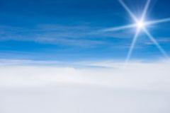 Blue sky with clouds and sun. Beautiful Blue sky with clouds and sun Royalty Free Stock Photography