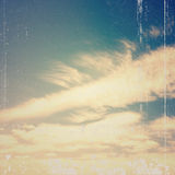 Blue sky, clouds and sun light background Stock Photography
