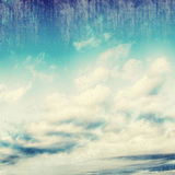 Blue sky, clouds and sun light background Royalty Free Stock Images