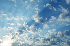 Blue sky with clouds and sun. Blue sky with clouds and sunray royalty free stock photography