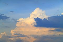 Blue sky with clouds and sunlight. At sunset Royalty Free Stock Images