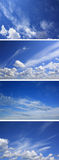 Blue sky with clouds sunny day. Set of skies. Blue sky with clouds sunny day Stock Images