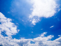 Blue sky with clouds. On sunny day royalty free stock image