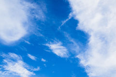Blue sky with clouds. In sunny day royalty free stock photography