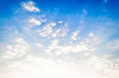 The blue sky clouds sunrise in the morning. Stock Photo