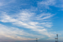 Blue Sky Clouds Three Antenna Background Royalty Free Stock Photo