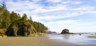 Shoreline at Low Tide Second Beach Olympic National Park Stock Photo