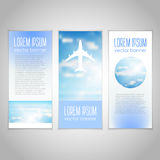 Blue sky with clouds vector banners set. Stock Photos