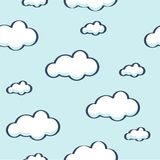 Blue sky with clouds, vector seamless background Stock Image
