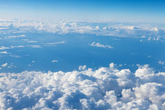 Blue sky with clouds. View from airplane Stock Image