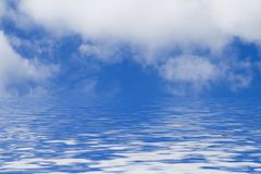 Blue Sky with Clouds and Water. Clouds and blue sky - water - horizon stock illustration