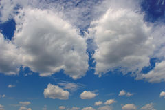 Blue sky with two big clouds. Blue sky with white clouds backdrop image royalty free stock image