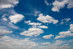 Blue sky with clouds. Blue sky with white clouds. Natural  background image Stock Photos