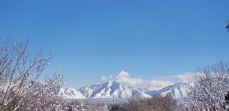 Winter morning mountain view royalty free stock photography