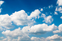 Blue sky and cloudscape. Scenic background of white cloudscape in blue sky Royalty Free Stock Images