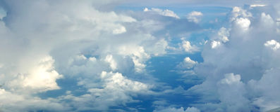 Blue sky cloudscape background from aerial view Stock Images