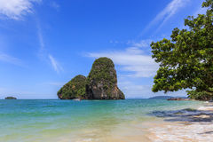 Blue sky and cloudy railay island  krabi Stock Images