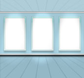Blue sky color room empty perspective with 3 frame Stock Image