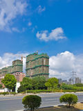 The blue sky and the construction site. The high-rise construction site and baiy Chinese Suzhou blue sky Royalty Free Stock Photos