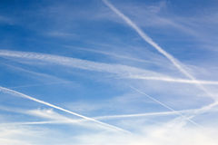 Blue Sky Contrail Clouds Background Stock Images