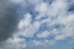 Blue sky cumulus clouds Royalty Free Stock Photo