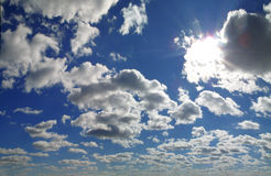 Blue sky with cumulus clouds in contrast. Blue sky with beautiful cumulus clouds in contrast Royalty Free Stock Photography