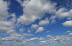 Blue sky with cumulus clouds in contrast. Blue sky with beautiful cumulus clouds in contrast Stock Photos