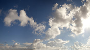 Blue sky with cumulus clouds in contrast. Panorama blue sky with cumulus clouds in contrast Royalty Free Stock Images
