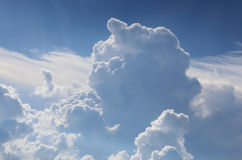 The blue sky with cumulus clouds. Stock Photo