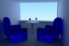 Blue sky and 3D rendering of wine glasses, a table and blue seating Stock Photography
