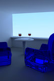 Blue sky and 3D rendering of wine glasses, a table and blue seating Stock Image