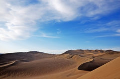 Blue sky and dune. Singing Sands Mountain gansu province in China Stock Photography