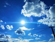 Blue sky. With electrification Royalty Free Stock Photos