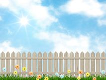 Blue sky and a fence background. Illustration of a blue sky and a fence background stock illustration