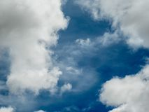 Blue sky a few white clouds.  royalty free stock photo