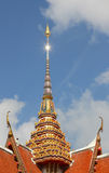 Blue sky flar  on roof temple Stock Photography