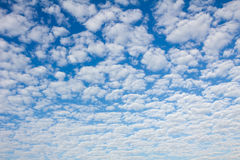 Blue sky with fleecy clouds Royalty Free Stock Image