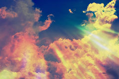Blue sky with floating clouds closeup. Royalty Free Stock Image