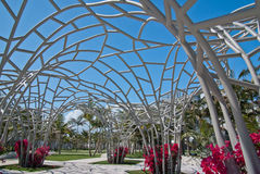 Blue sky through flowering metal sculpture Royalty Free Stock Image