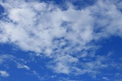 Blue sky with fluffy cloud bright beautiful art of nature and co. Py space for add text Royalty Free Stock Image